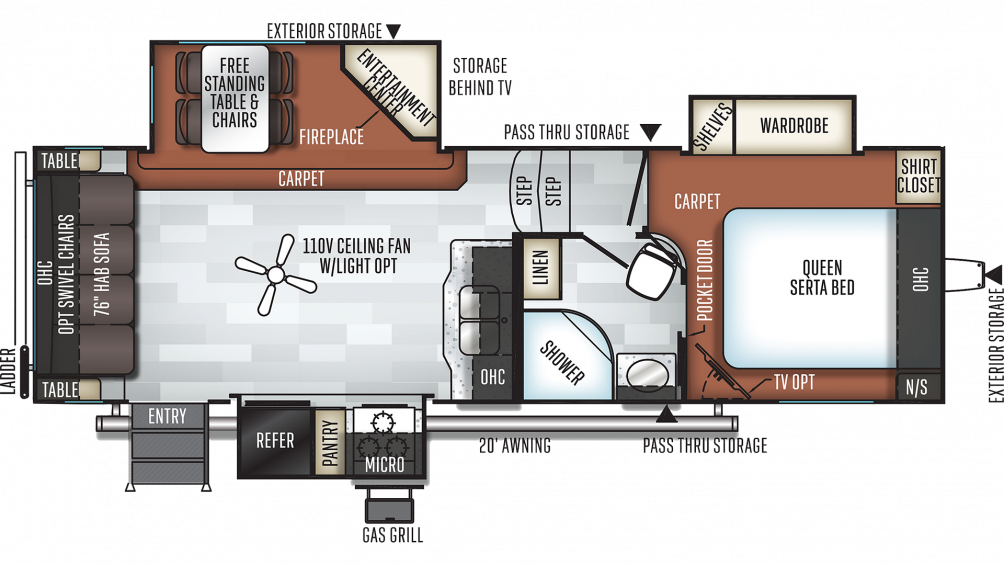 2019 Rockwood Ultra Lite 2620WS Floor Plan Img
