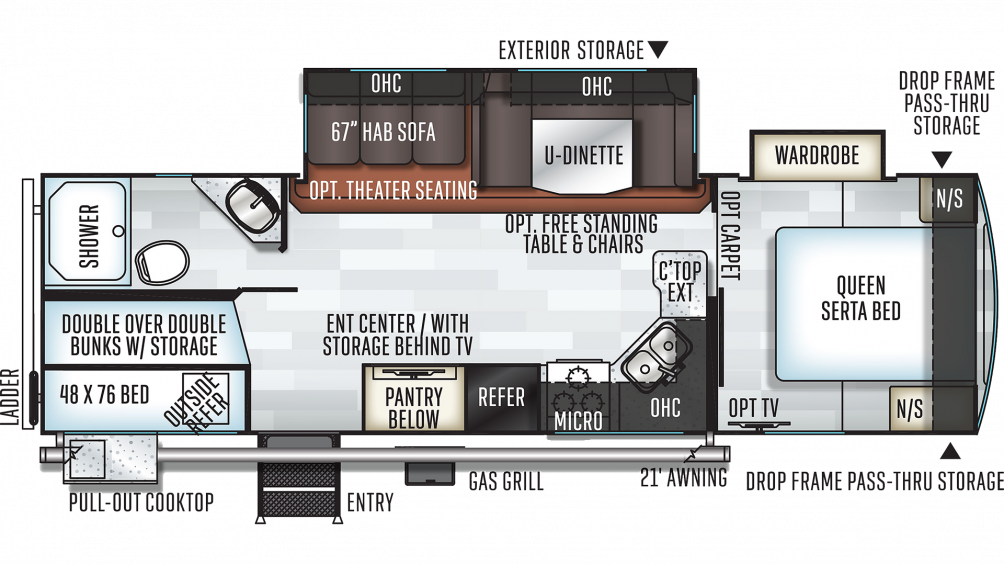 2019 Rockwood Ultra Lite 2706WS Floor Plan Img