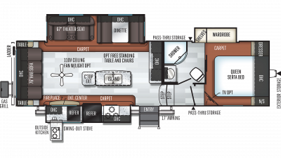 2019 Rockwood Ultra Lite 2888WS Floor Plan Img
