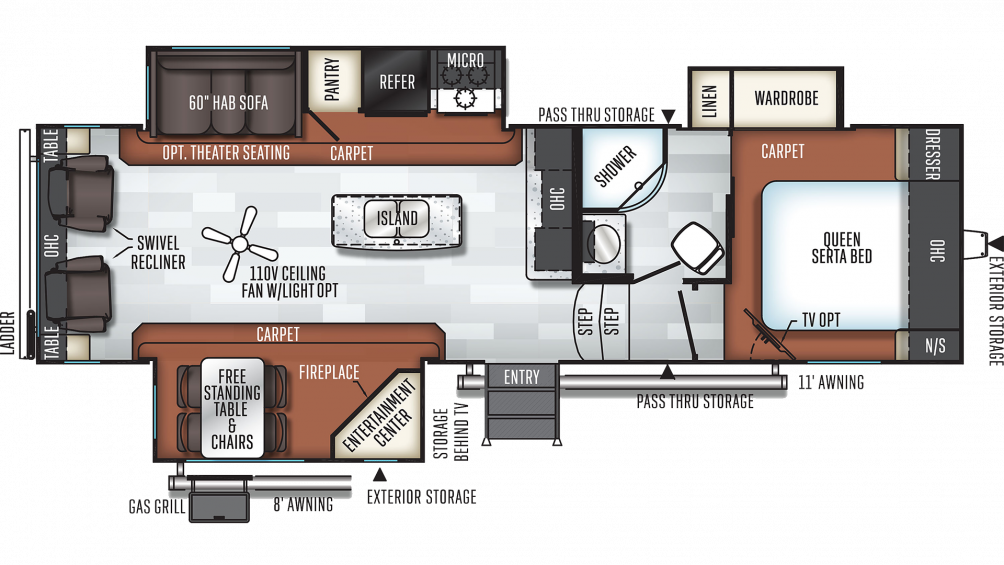 2019 Rockwood Ultra Lite 2889WS Floor Plan Img