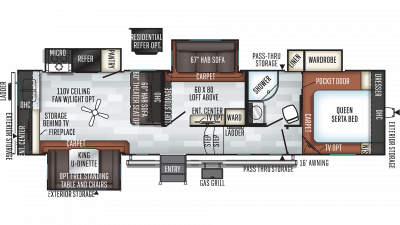 2019 Rockwood Ultra Lite 2896MB Floor Plan Img