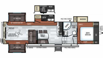 2019 Rockwood Ultra Lite 2898KS Floor Plan Img