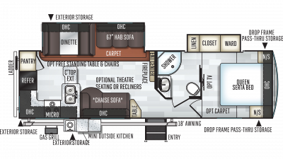 2019 Rockwood Ultra Lite 2902WS Floor Plan Img