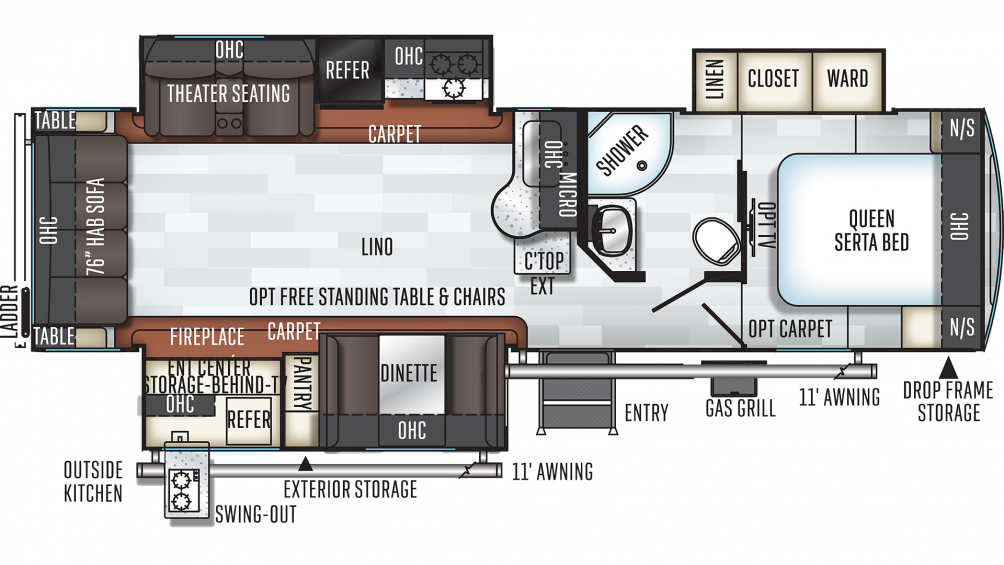 2019 Rockwood Ultra Lite 2906RS Floor Plan Img