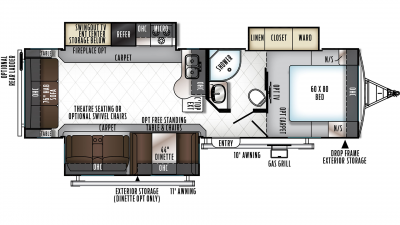 2019 Rockwood Ultra Lite 2906WS Floor Plan Img