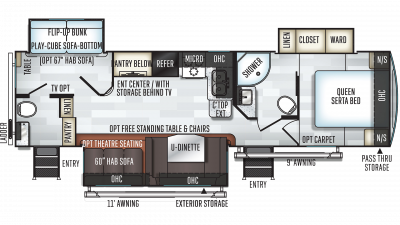 2019 Rockwood Ultra Lite 2910SB Floor Plan Img