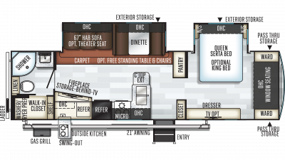 2019 Rockwood Ultra Lite 2912BS Floor Plan Img