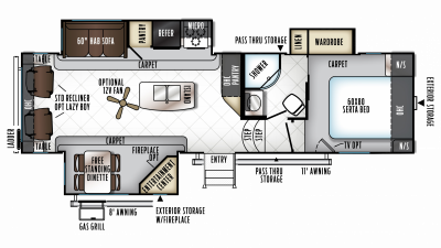 2019 Rockwood Signature Ultra Lite 8289WS Floor Plan Img