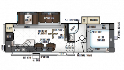 2018 Rockwood Ultra Lite 2880WS Floor Plan Img
