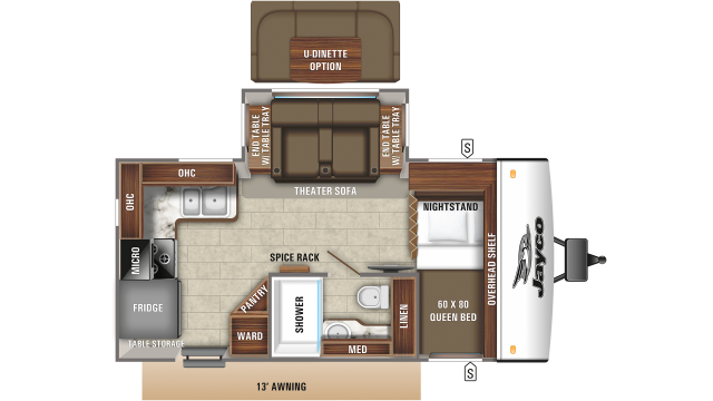 2020 Jay Feather 16RK Floor Plan