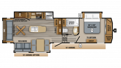 2019 Eagle 321RSTS Floor Plan Img