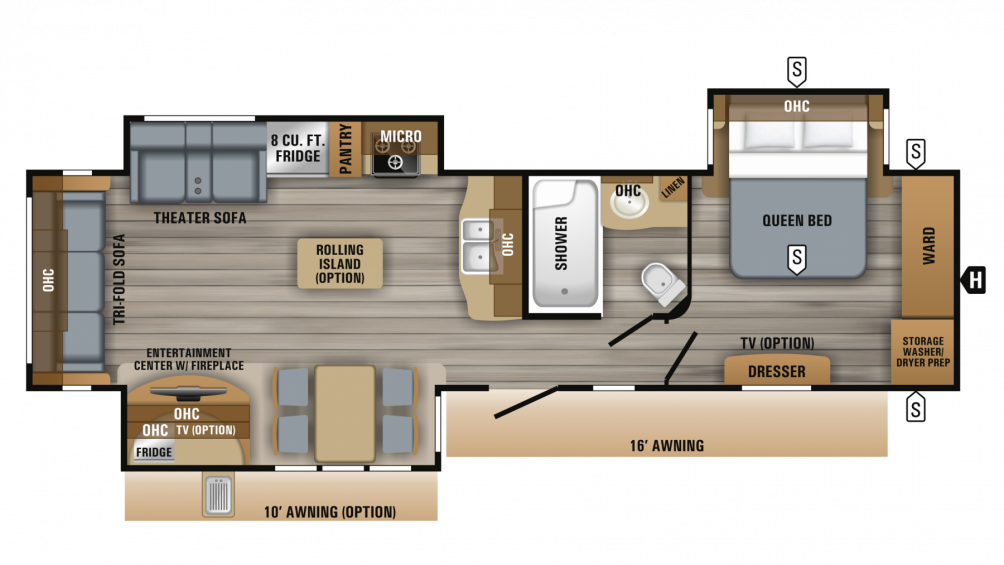 2019 Eagle 322RLOK Floor Plan Img