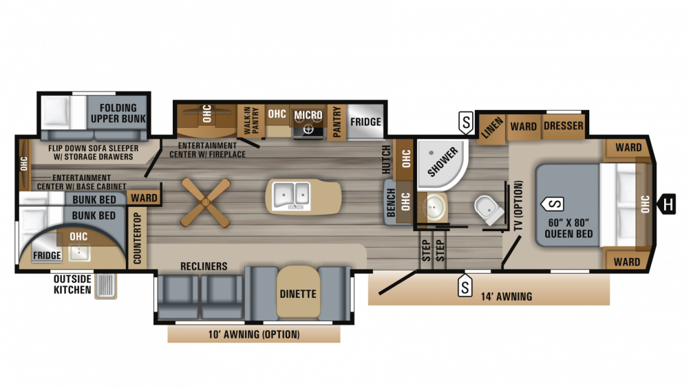 2019 Eagle 325BHQS Floor Plan Img