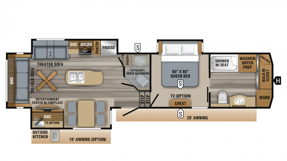 2019 Eagle 336FBOK Floor Plan Img