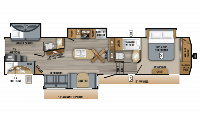 2019 Eagle 347BHOK Floor Plan Img