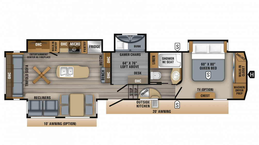 2018 Eagle 355MBQS Floor Plan Img