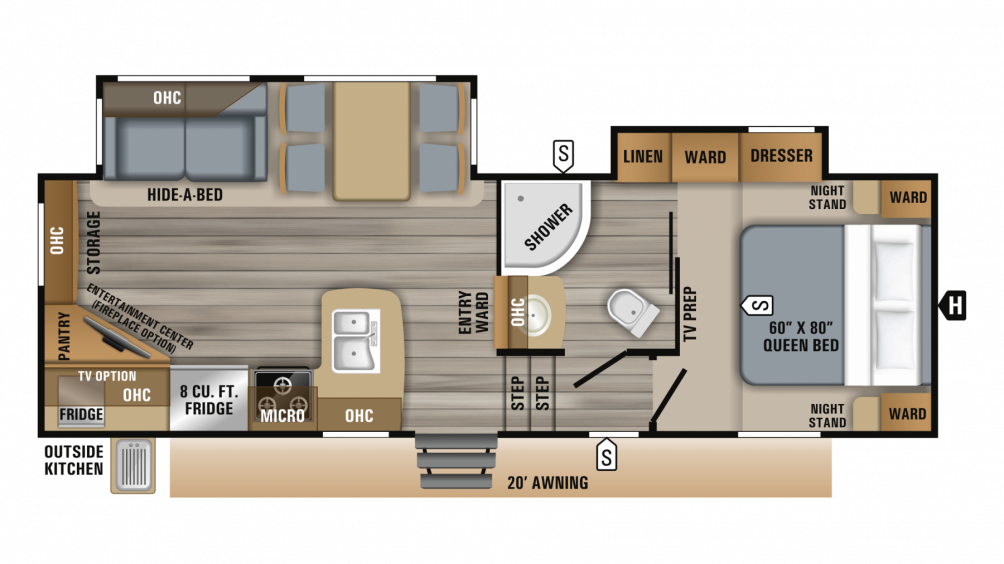2019 Eagle HT 25.5REOK Floor Plan Img
