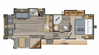 2019 Eagle HT 26.5RLDS Floor Plan Img