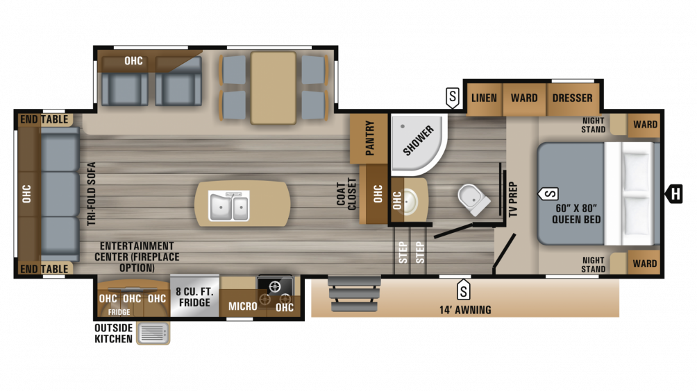 2019 Eagle HT 28.5RSTS Floor Plan Img