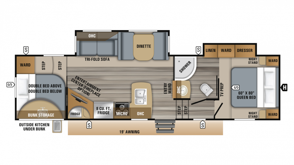 2019 Eagle HT 29.5BHDS Floor Plan Img