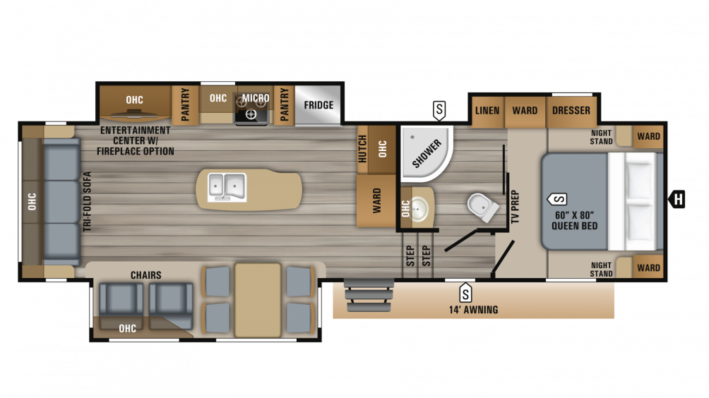 2019 Eagle HT 30.5CKTS Floor Plan Img