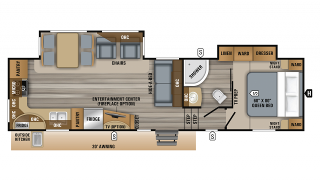 2019 Eagle HT 30.5MLOK Floor Plan Img
