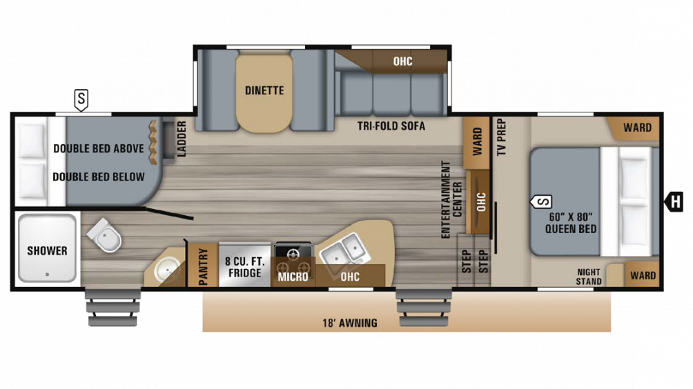 2019 Eagle HTX 26BHX Floor Plan Img