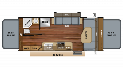 2019 Jay Feather X23B Floor Plan Img