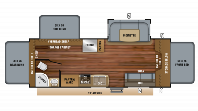 2019 Jay Feather X23E Floor Plan Img