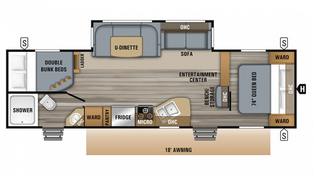 2019 Jay Flight 28BHBE Floor Plan Img