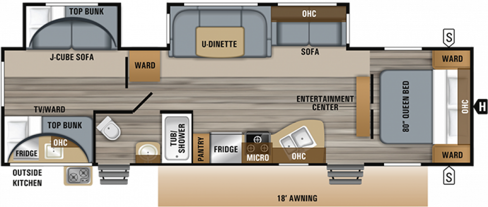 2019 Jay Flight 32BHDS Floor Plan Img