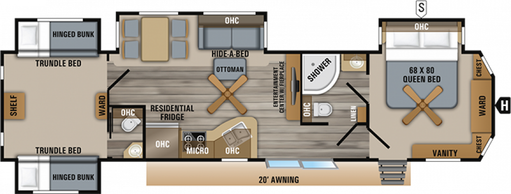 2019 Jay Flight Bungalow 40BHQS Floor Plan Img