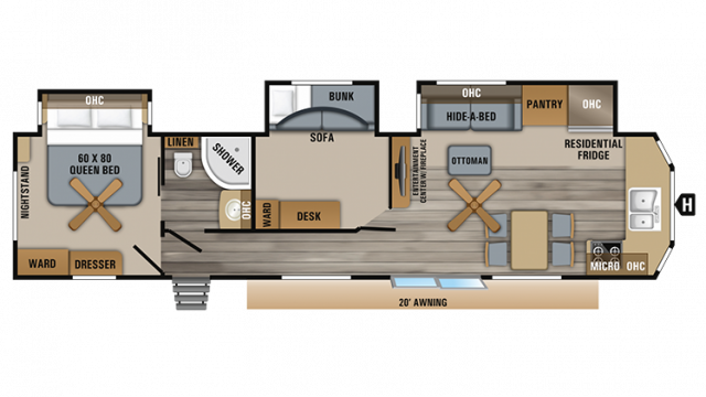 2019 Jay Flight Bungalow 40BHTS Floor Plan