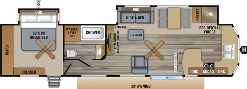 2019 Jay Flight Bungalow 40FKDS Floor Plan Img