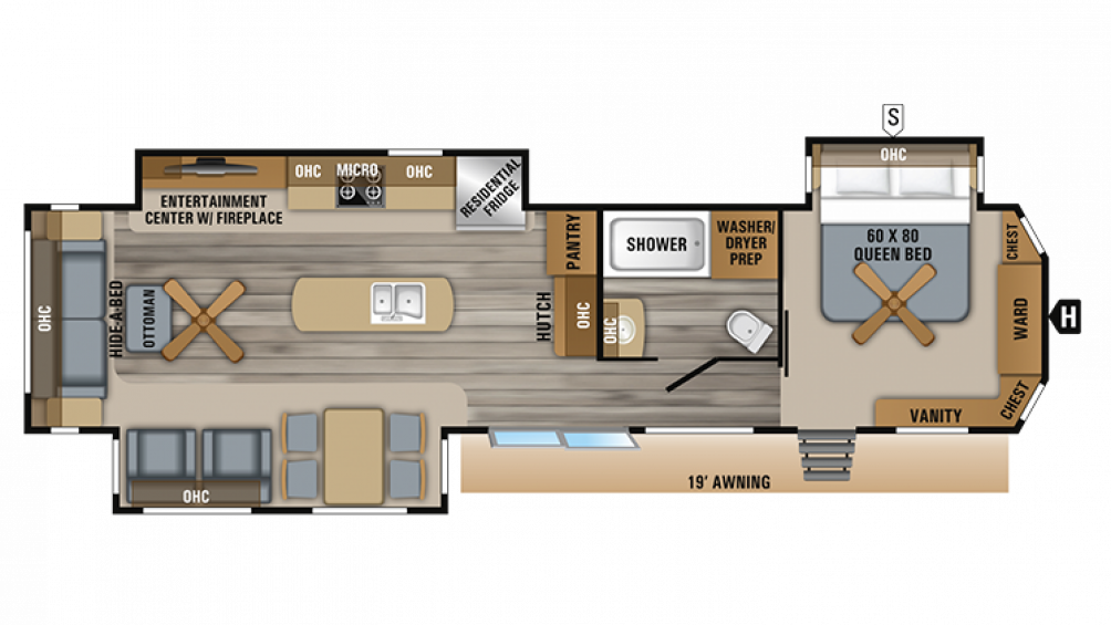 2019 Jay Flight Bungalow 40RLTS Floor Plan Img