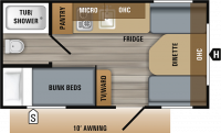 2019 Jay Flight SLX 154BH Floor Plan