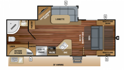 2019 White Hawk 23MRB Floor Plan Img