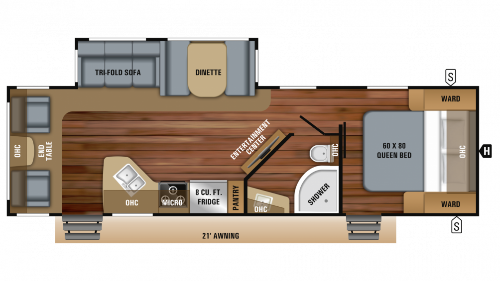 2019 White Hawk 28RL Floor Plan Img