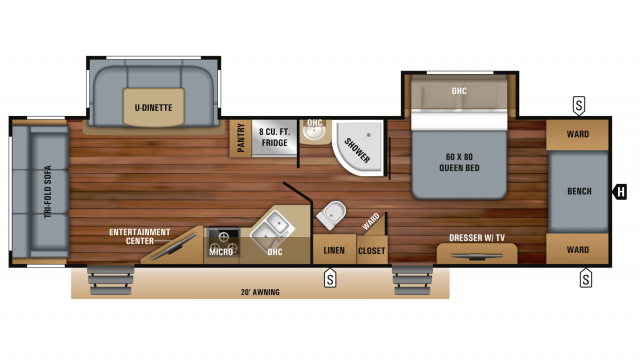 2019 White Hawk 30RLS Floor Plan Img