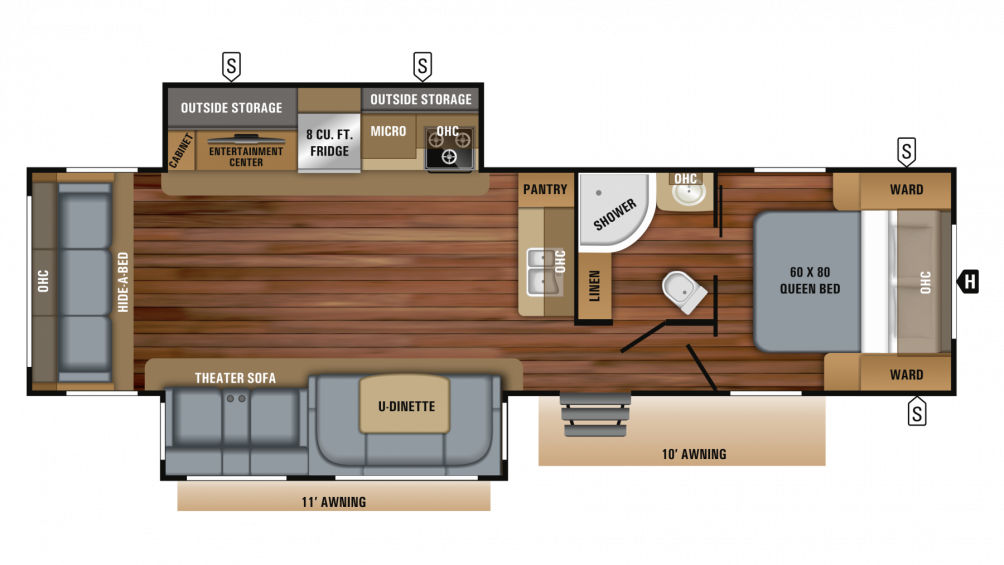 2019 White Hawk 31RL Floor Plan Img