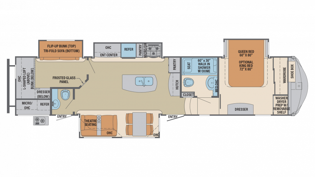 2018 Columbus Compass Series 374BHC Floor Plan Img