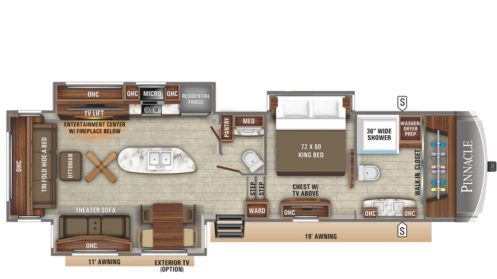 Pinnacle 36FBTS Floor Plan - 2020