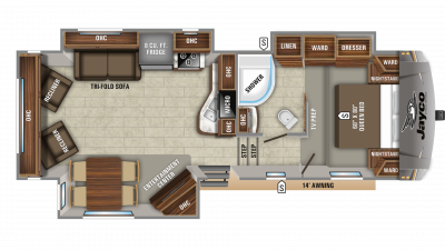 2019 Eagle HTX 27SGX Floor Plan Img