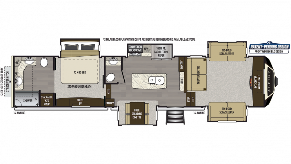 2020 Alpine 3700FL Floor Plan Img