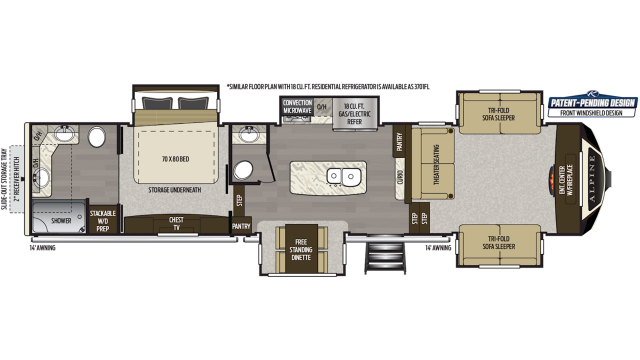 2020 Alpine 3700FL Floor Plan
