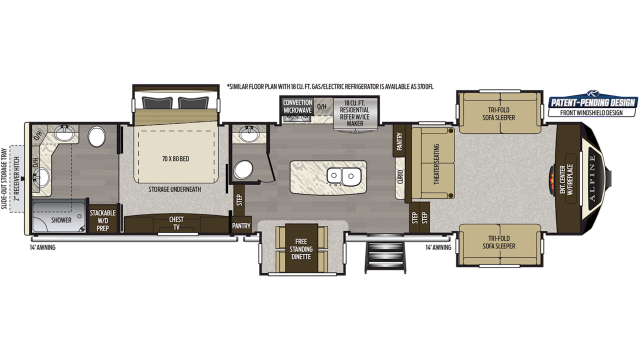 2020 Alpine 3701FL Floor Plan