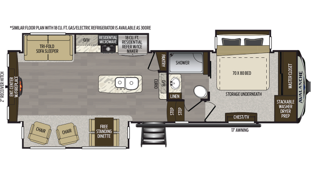 2020 Avalanche 301RE Floor Plan