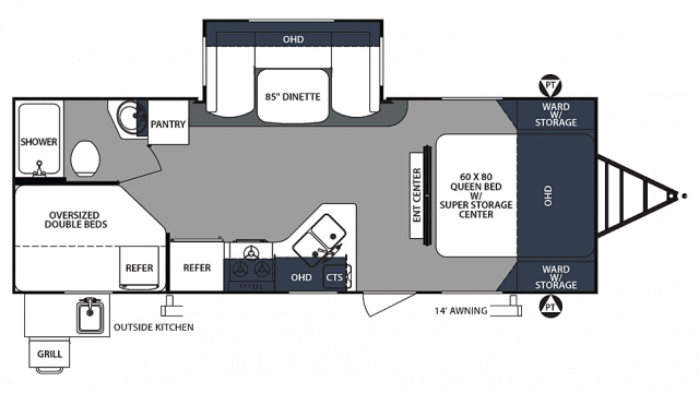 2020 Surveyor Luxury 245BHS Floor Plan