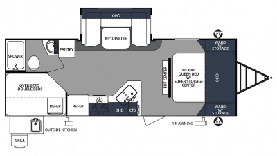 2020 Surveyor Luxury 245BHS Floor Plan Img