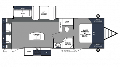 2020 Surveyor Luxury 265RLDS Floor Plan Img